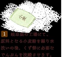 岐阜県の工場にて、原料となる小麦粉を練り水洗いの後、くず餅い必要なでんぷんを沈殿させます。