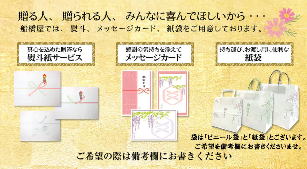 熨斗・メッセージカード・船橋屋紙袋をご用意。プレゼントやギフト、お歳暮、贈り物に最適